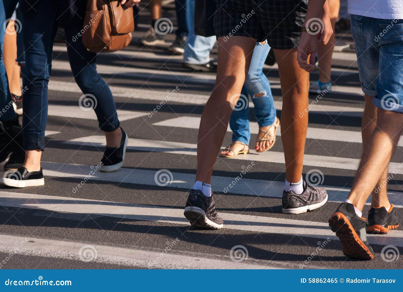 Feet of pedestrians