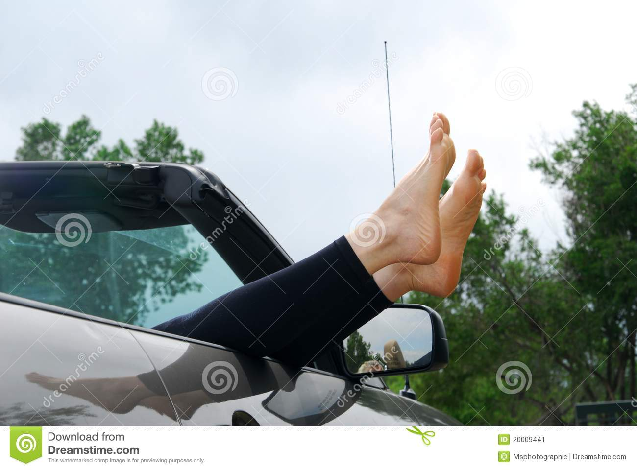 Feet Sticking Out A Car Window Stock Image Image Of
