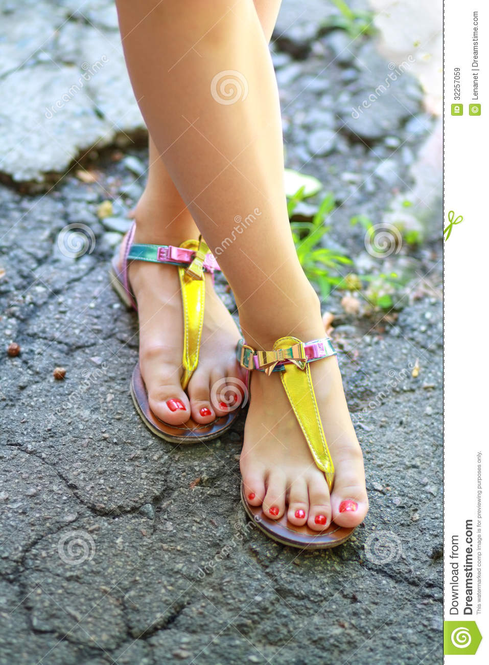 55819f5b1a179d Feet Wearing Summer Sandals Stock Image - Image of flops