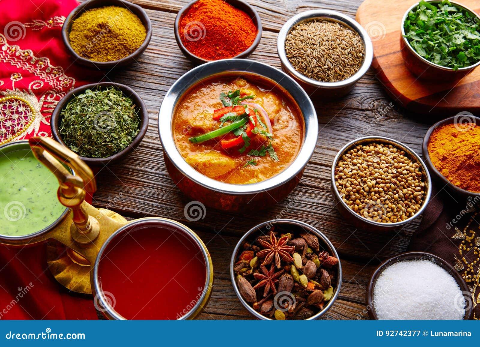 Fegt Jalfrazy indiskt matrecept och kryddor