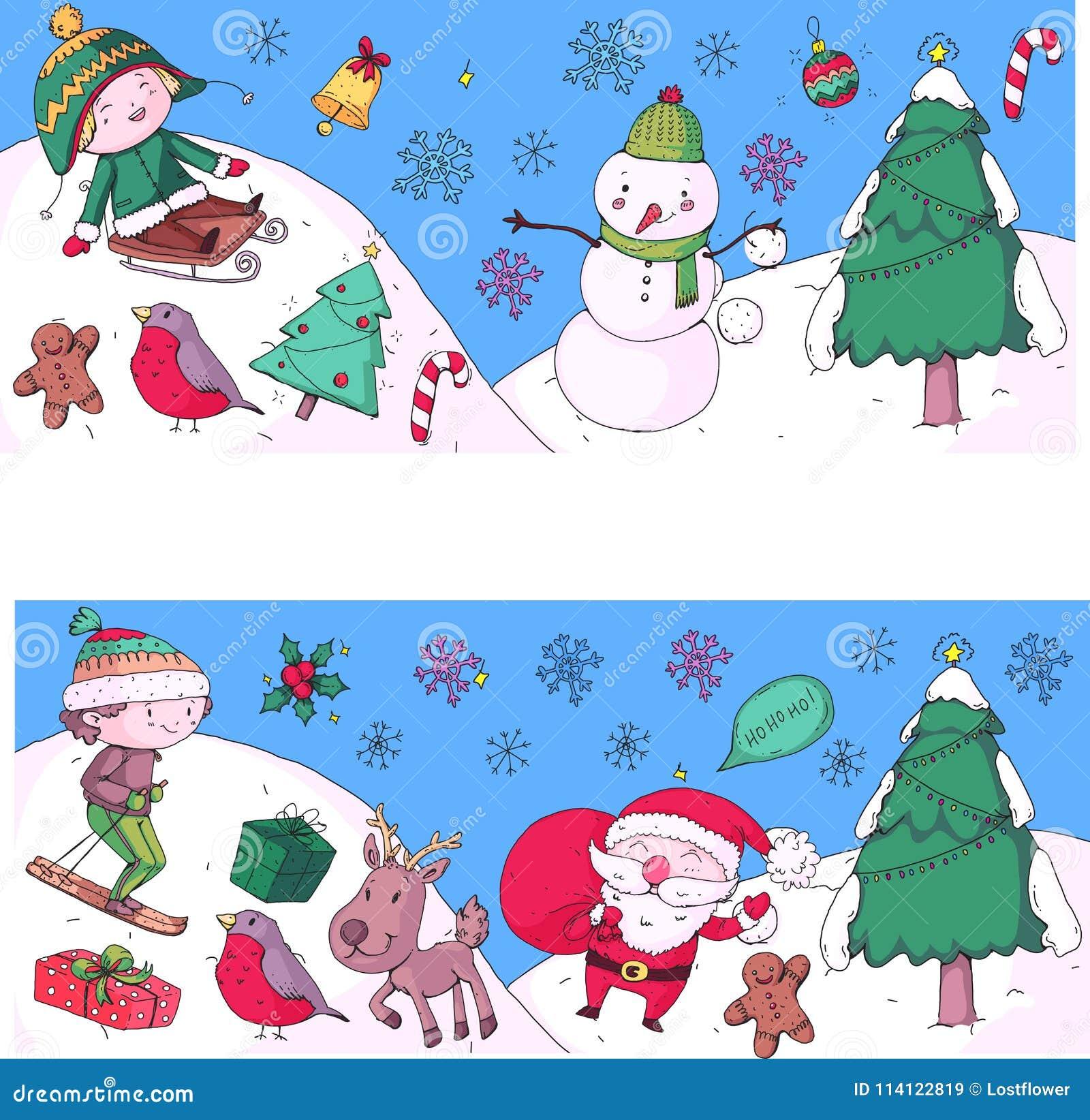Weihnachten Kinder.Feier Der Frohen Weihnachten Mit Kindern Kinder Die Illustration