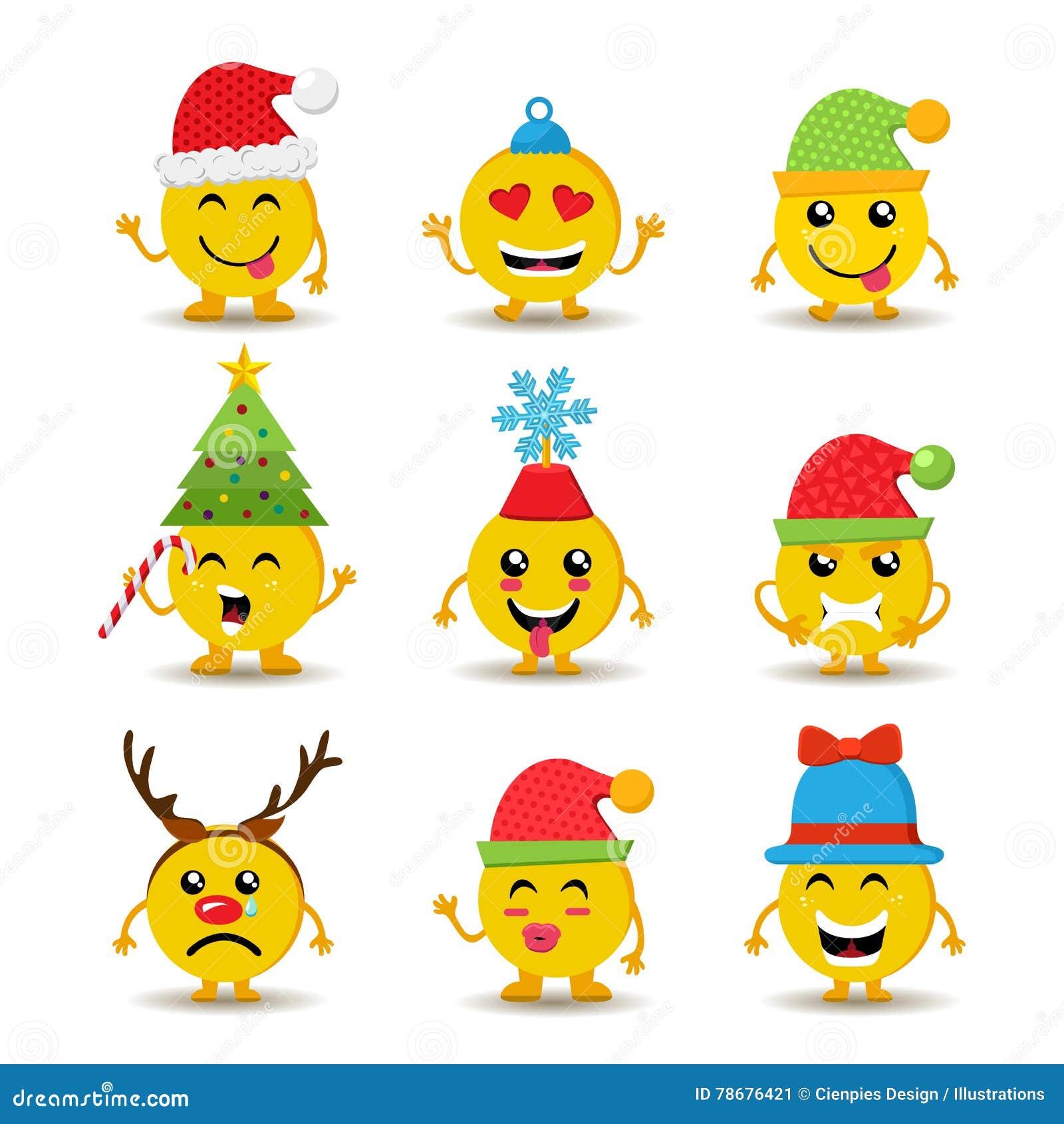 Feiertag Emoji Ikone Stellte Für Weihnachten Und Neues Jahr Ein ...