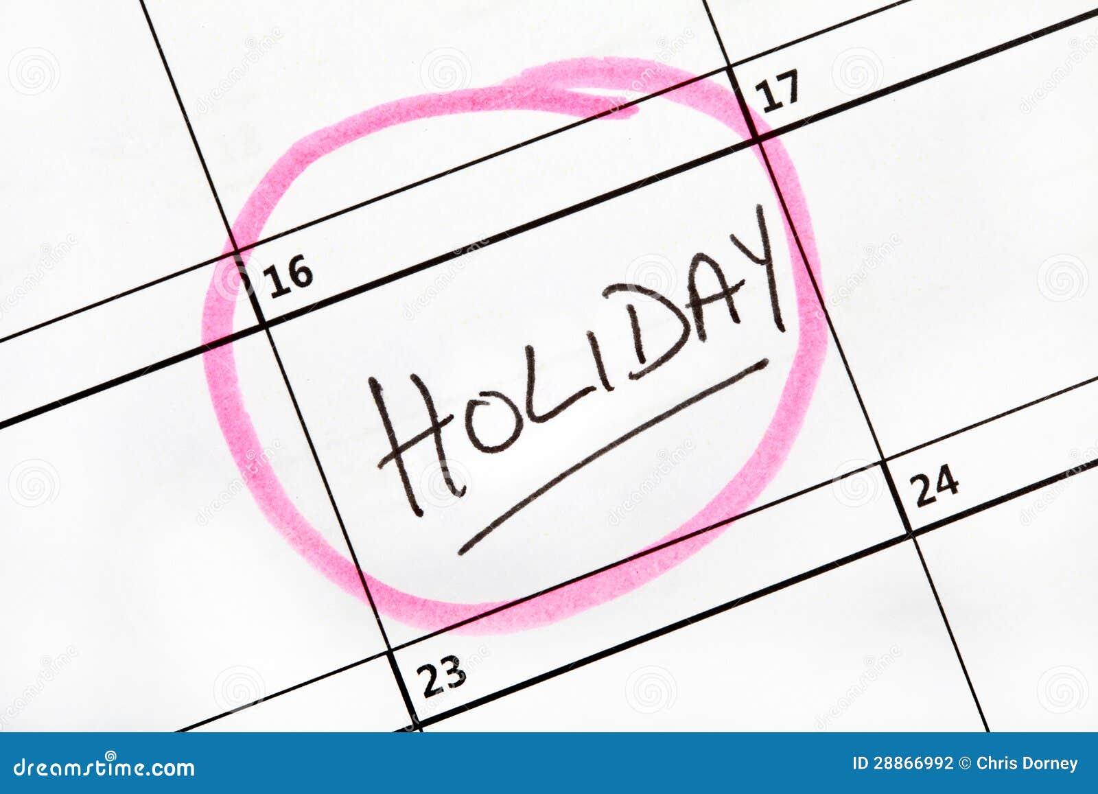 Feiertags-Datum markiert auf einem Kalender.