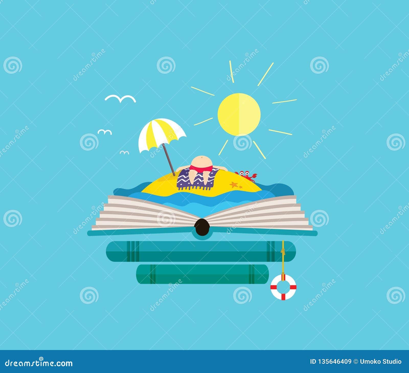Feiertagseinsame insel mit ein Sonnenbad nehmendem Mann auf dem offenen Buch Vervollkommnen Sie für Buchhandlung
