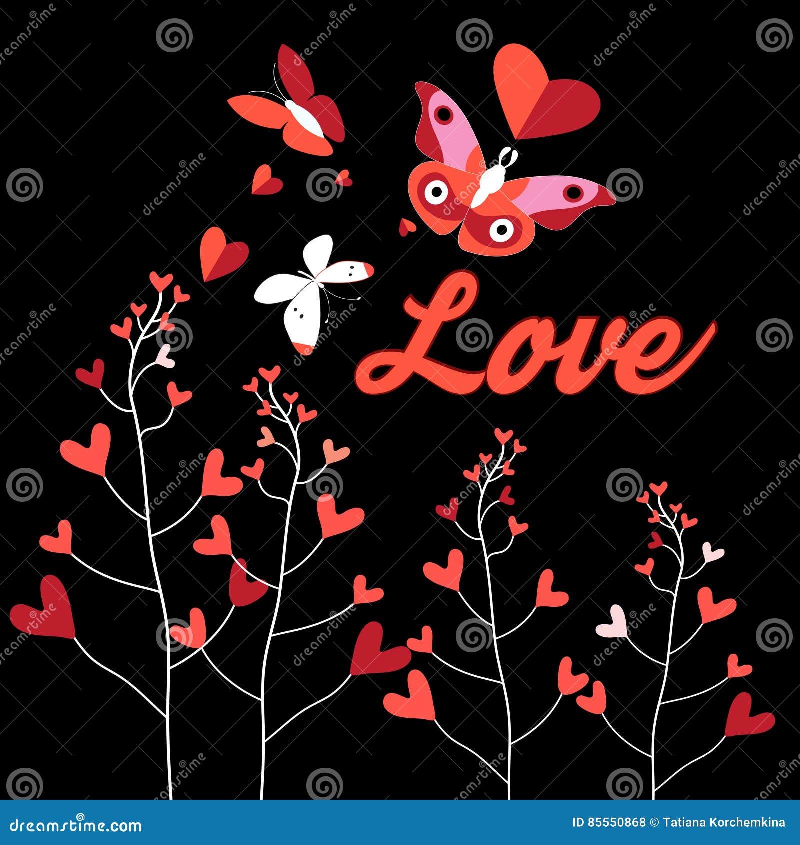 Feiertagskarte mit Schmetterlingen in der Liebe