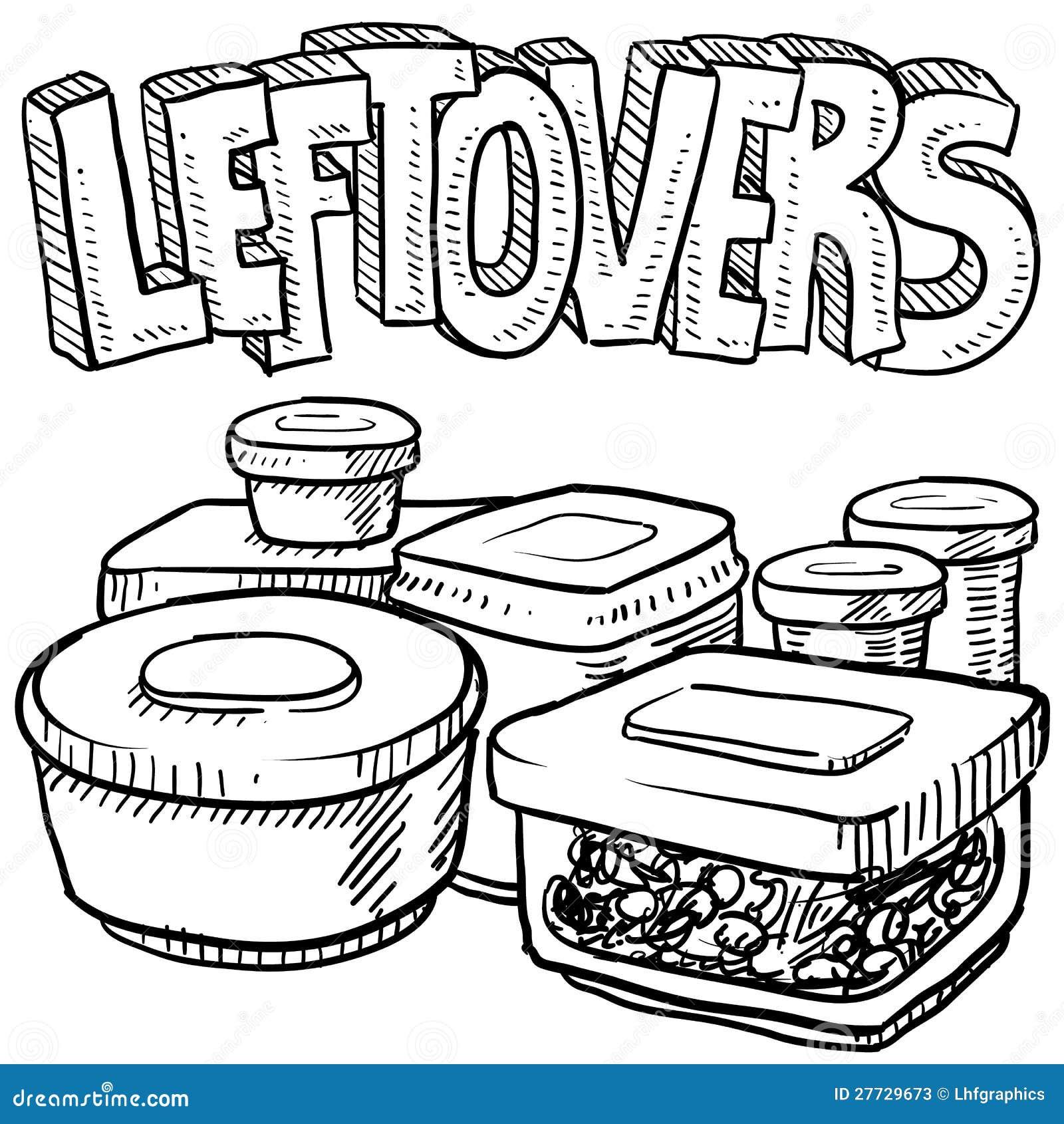 Feiertagsrestnahrungsmittelvektorskizze