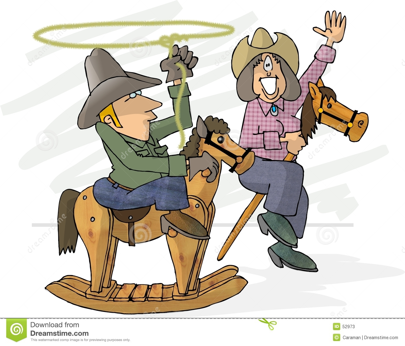 Download Feignez les cowboys illustration stock. Illustration du travail - 52973
