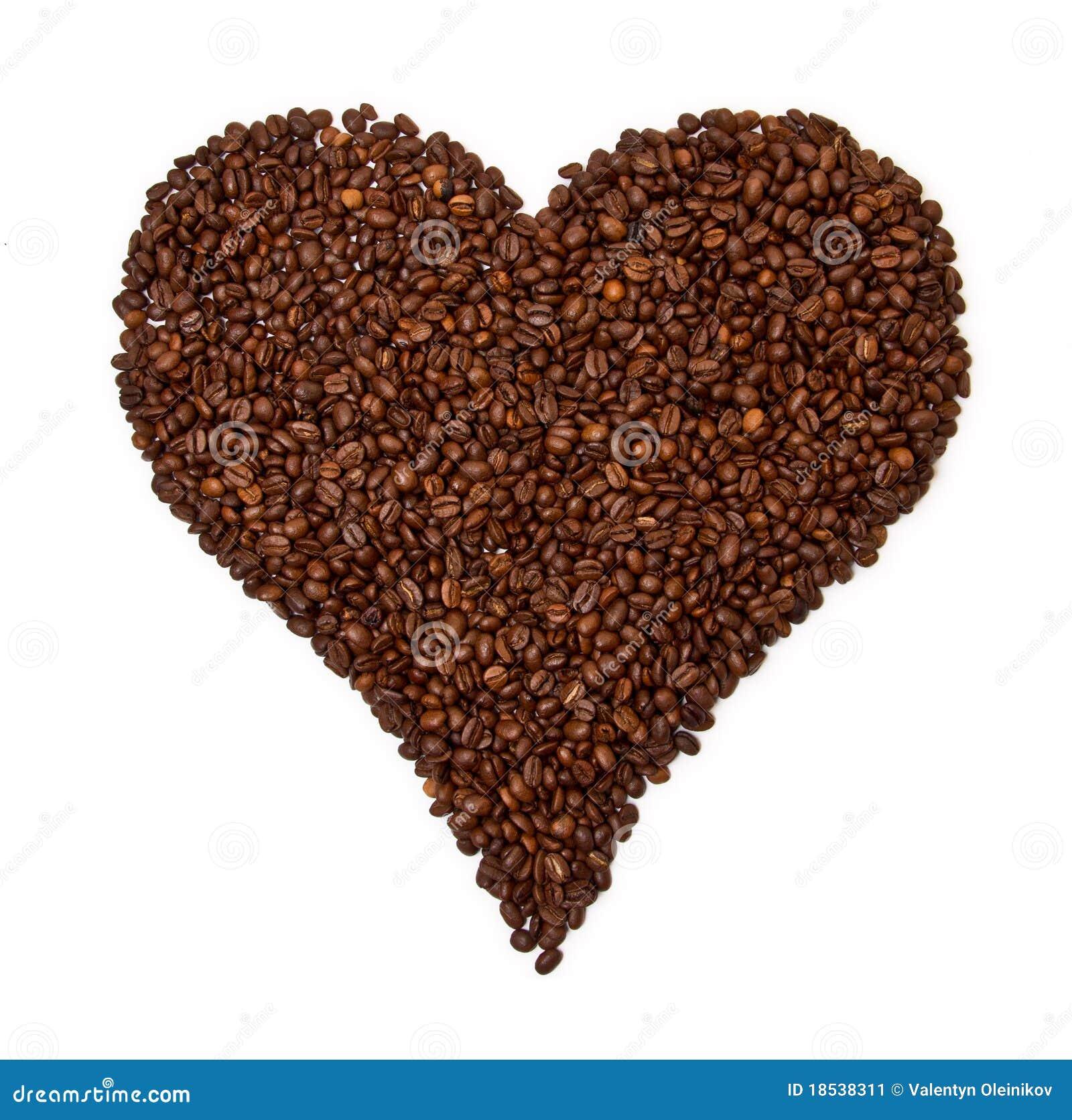 Feijões de café dados forma coração