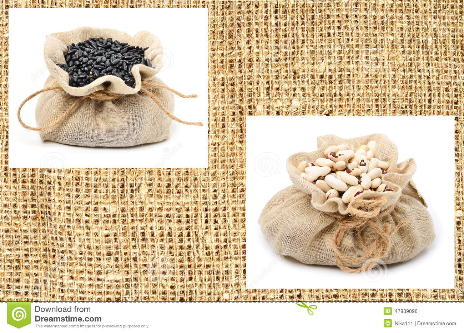 Feijões preto e branco no saco