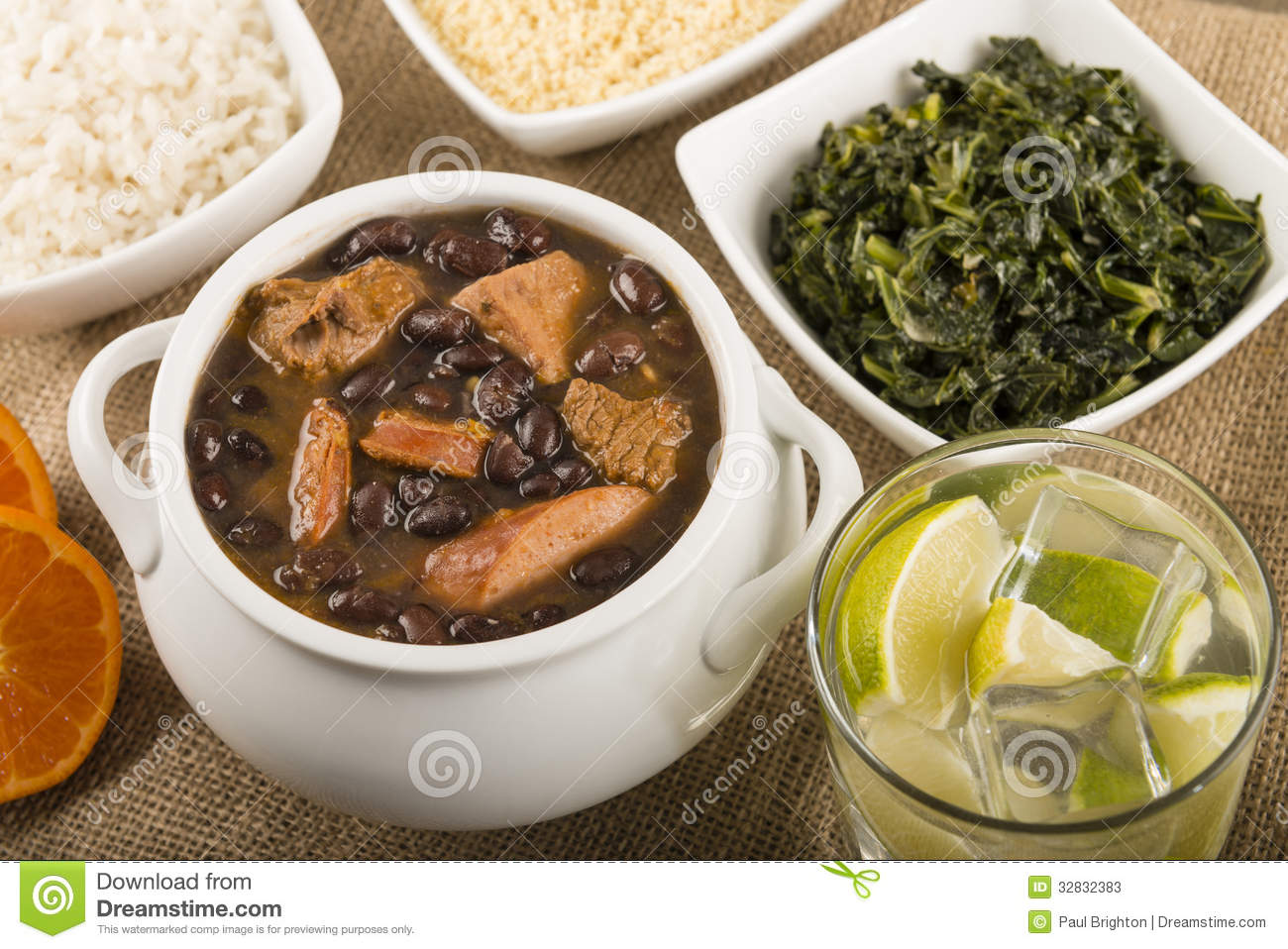 Brazilian beef, sausage, pork and black bean stew served with manioc ...