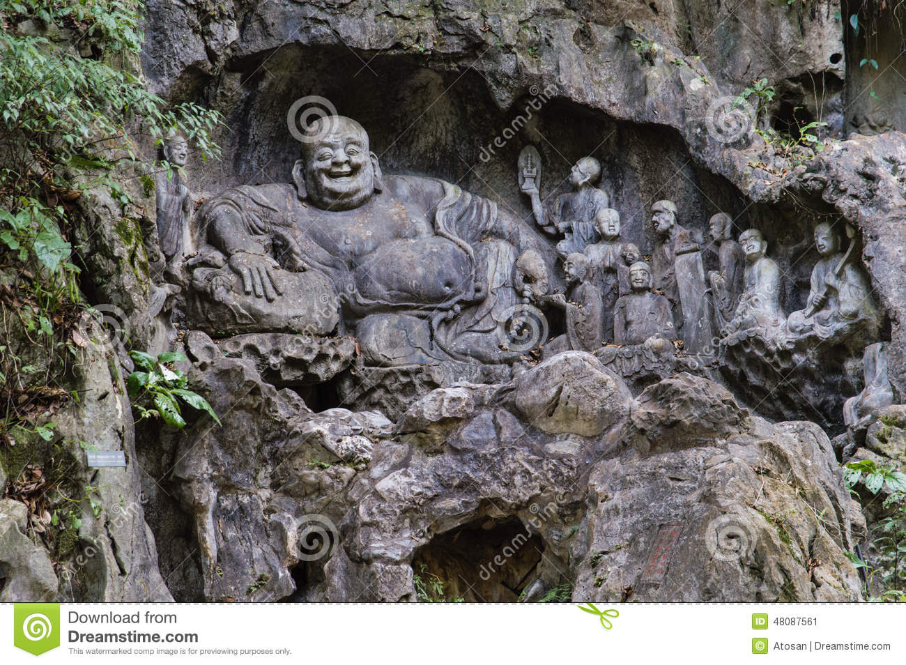 Feilai feng stone carvings lingyin temple stock photo