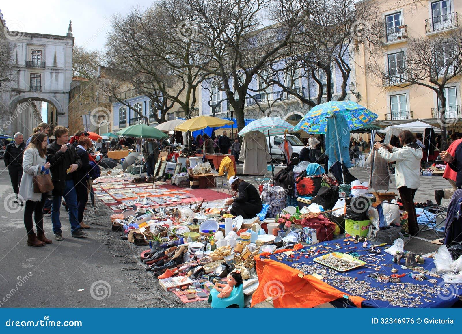 PORTUGAL APRIL6,2013: Feira da ladra, a flea market held twice weekly ...