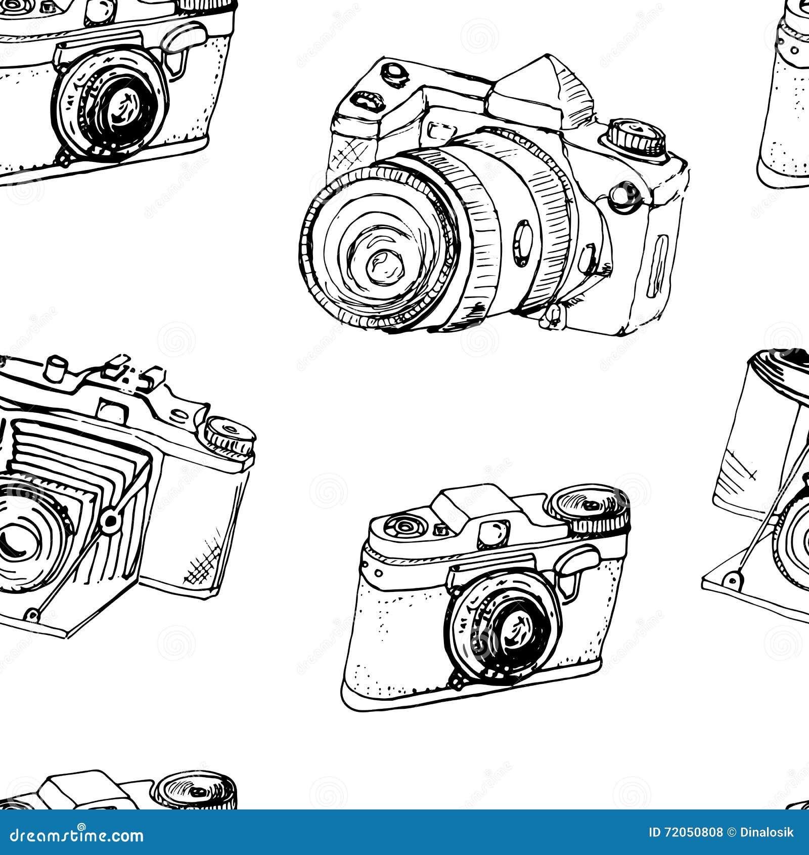 Feito A Mao Cameras Desenho Da Tinta Camera Fotografica Esboco