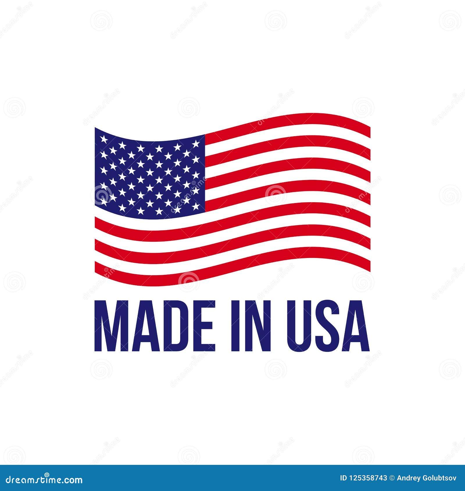 Feito na bandeira americana do vetor do ícone dos EUA
