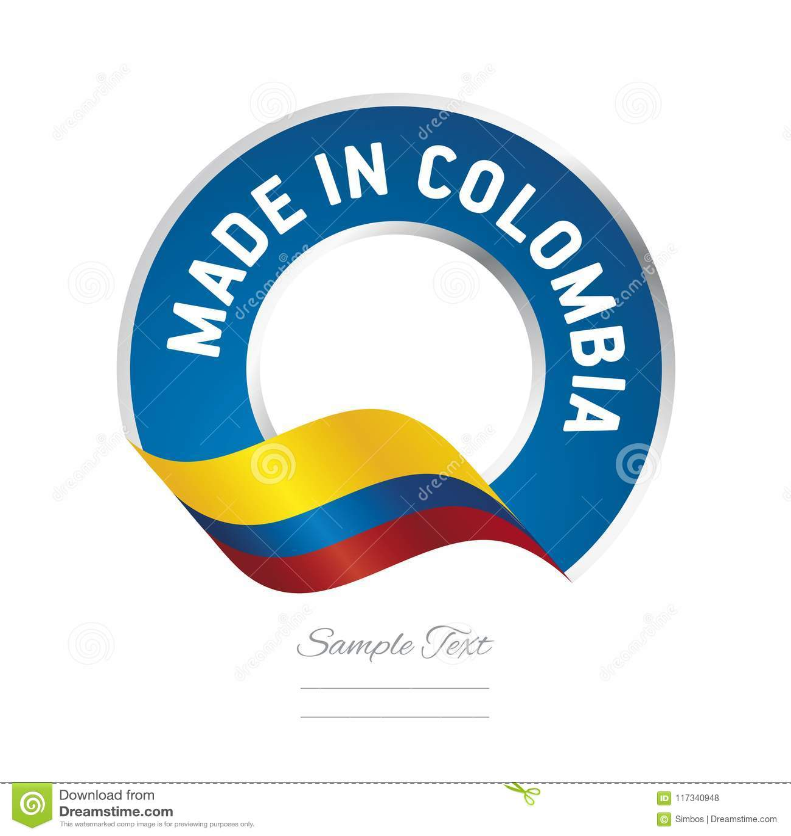 Feito no ícone azul do logotipo da etiqueta da cor da bandeira de Colômbia