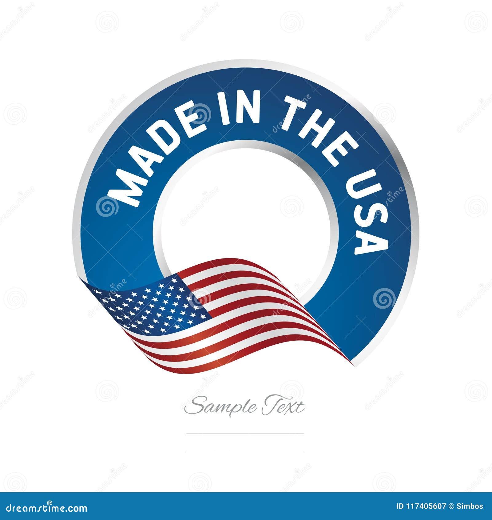 Feito no ícone do logotipo da etiqueta da cor da bandeira dos EUA
