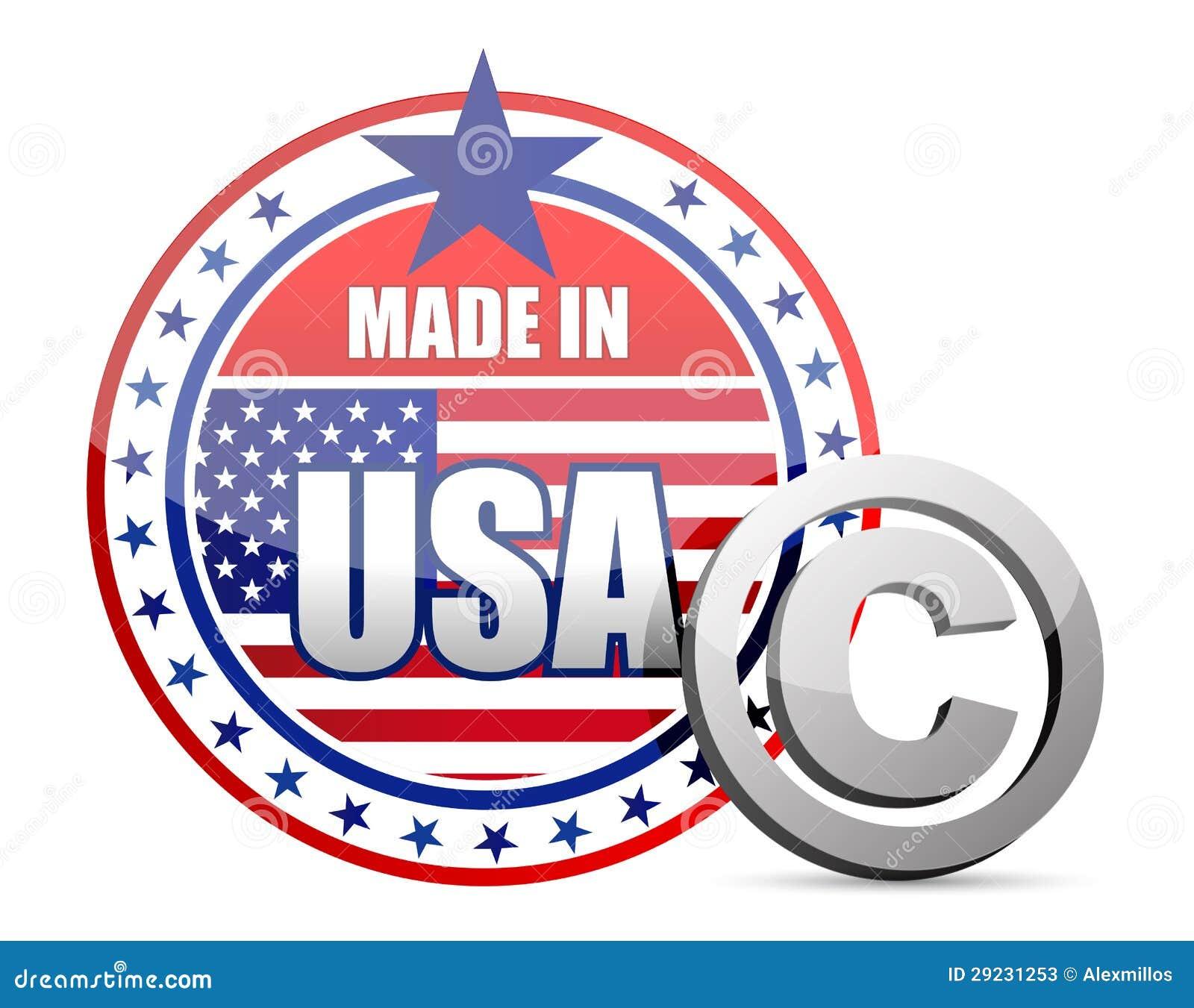 Download Feito Nos EUA Embandeire O Selo Com Sinal Dos Direitos Reservados Ilustração Stock - Ilustração de projeto, cópia: 29231253