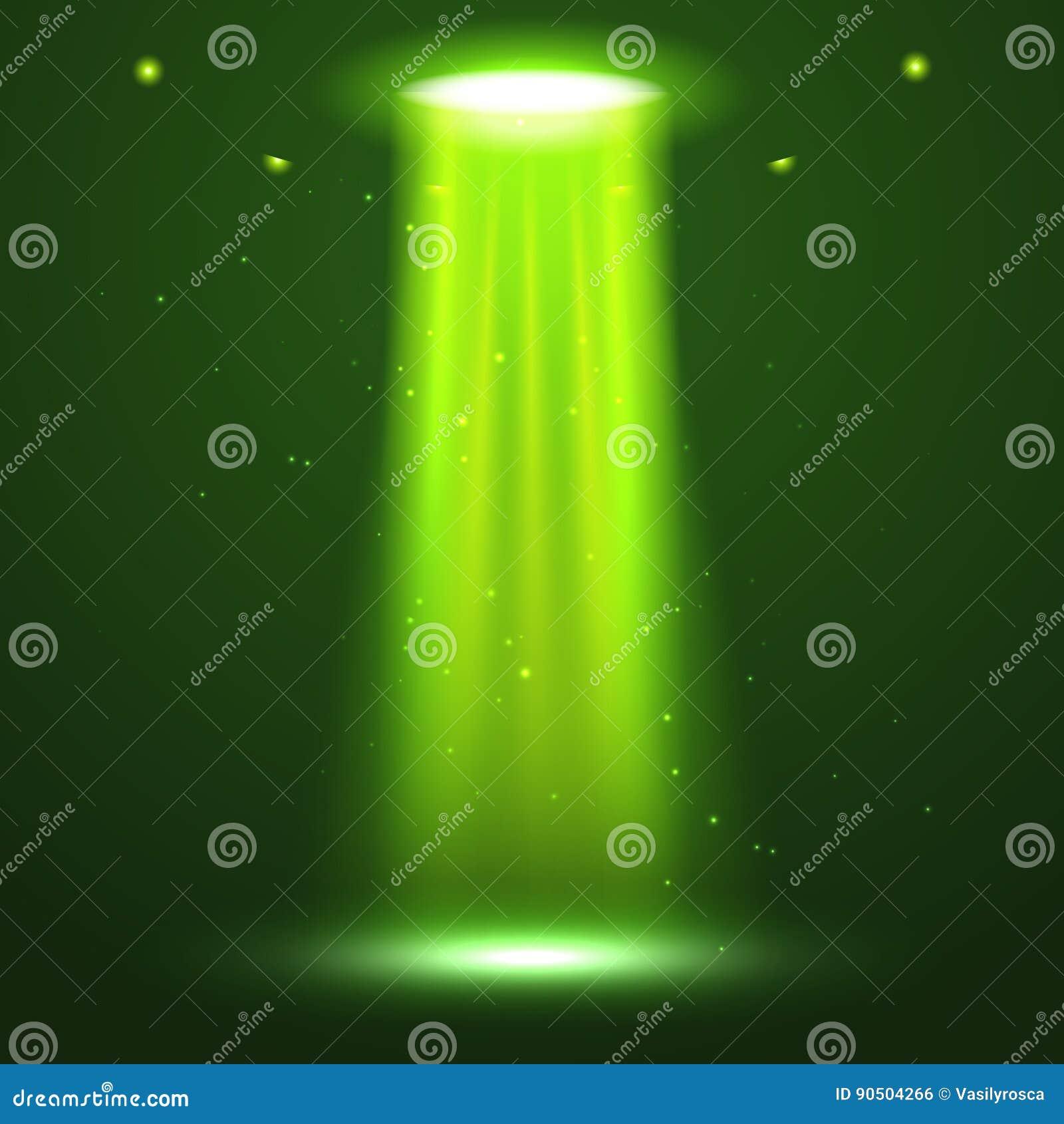 Feixe luminoso do UFO Luz brilhante futurista do transporte estrangeiro na obscuridade Projeto do efeito do fulgor da nave espaci