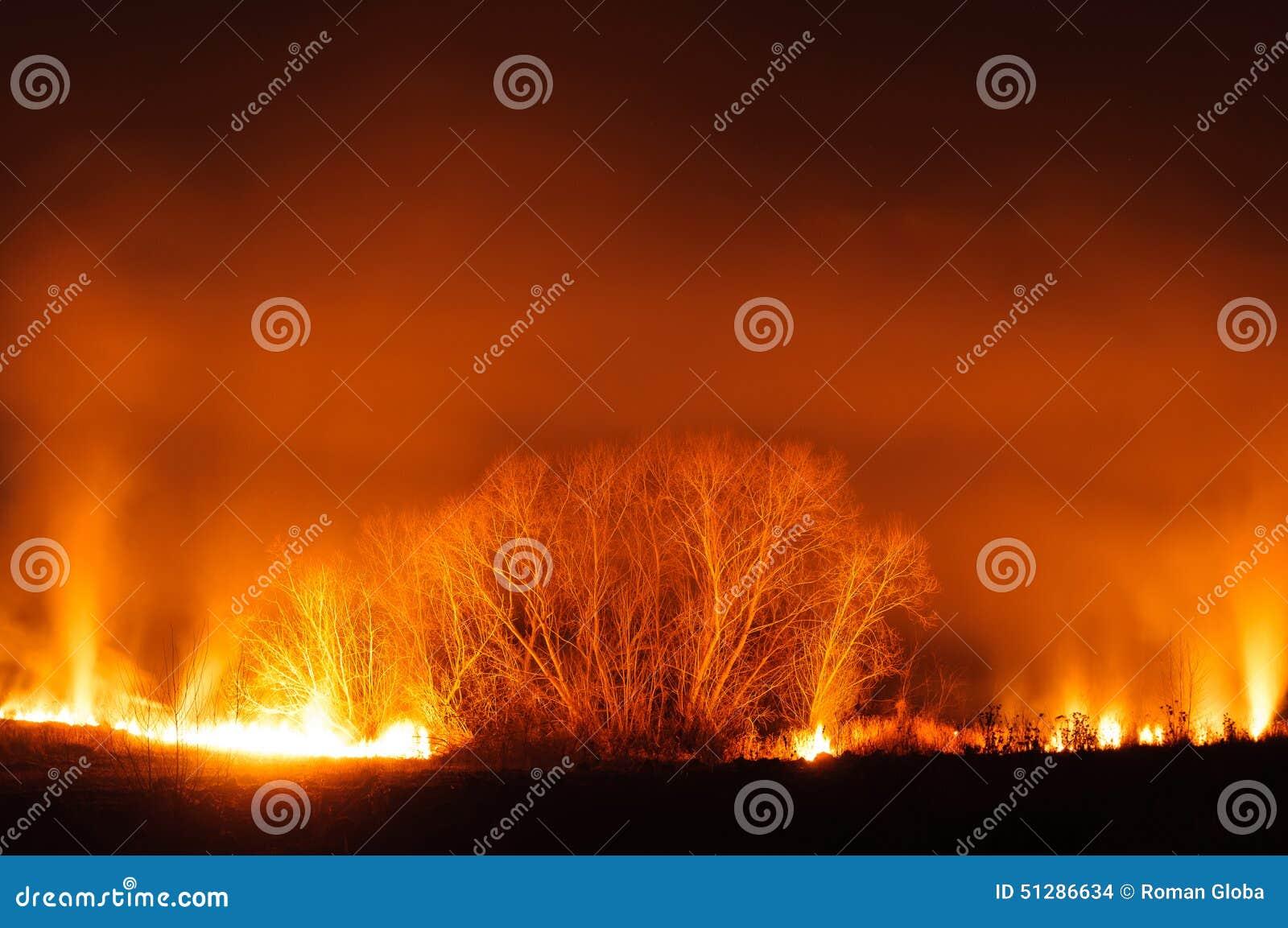 Feld auf Rotglühen des Feuers
