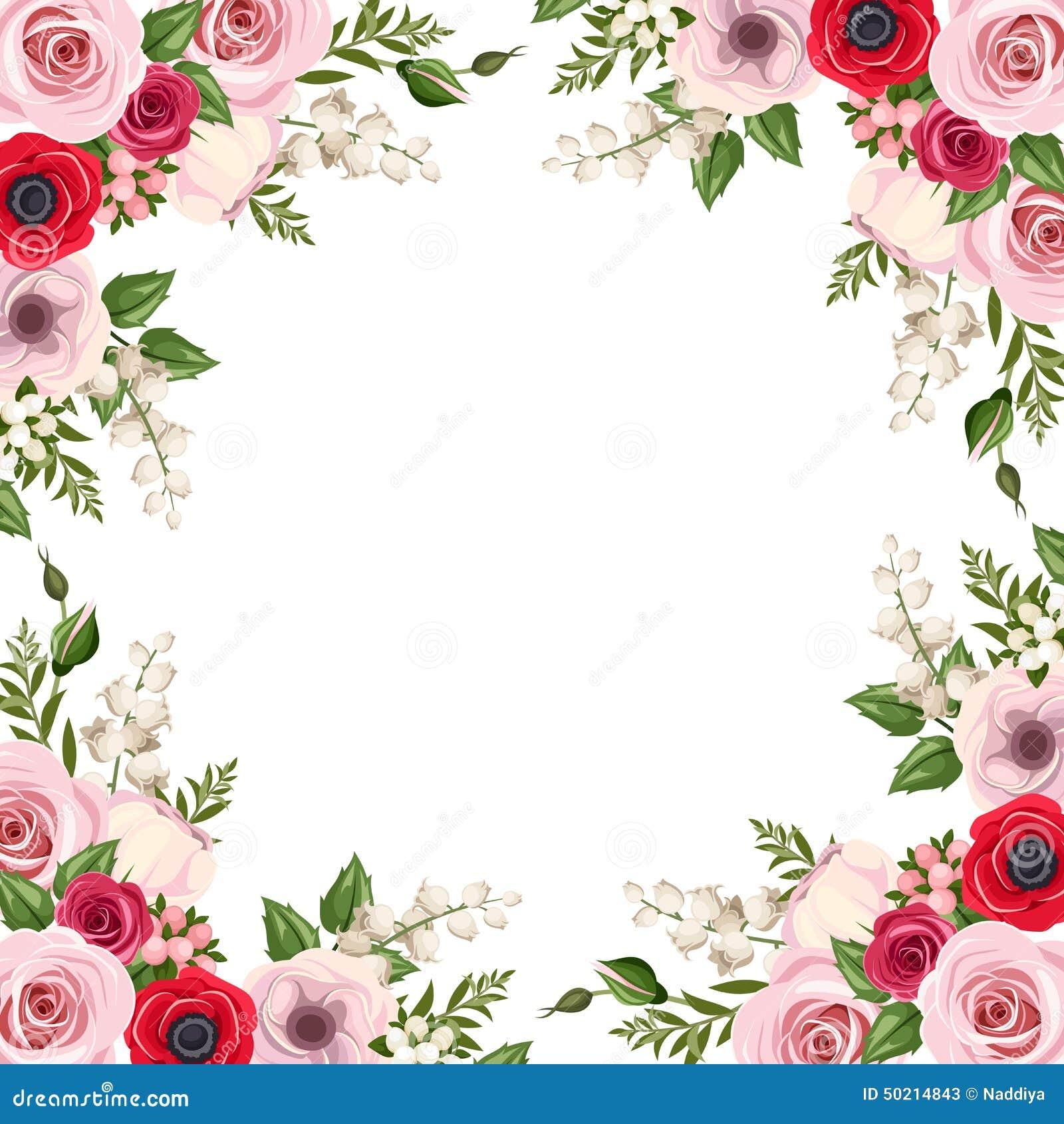 Feld mit den roten und rosa Rosen, lisianthus und den Anemonenblumen und -Maiglöckchen Vektor