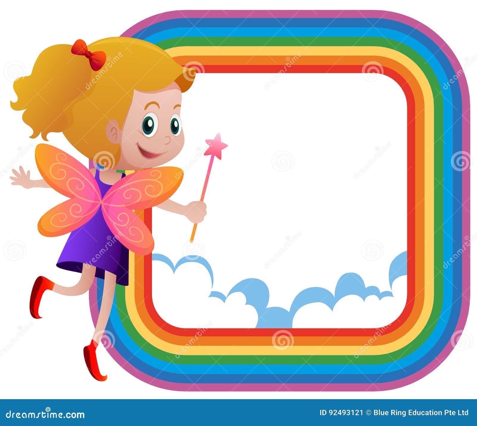 feld schablone mit feenhaftem fliegen auf dem regenbogen vektor abbildung illustration von. Black Bedroom Furniture Sets. Home Design Ideas