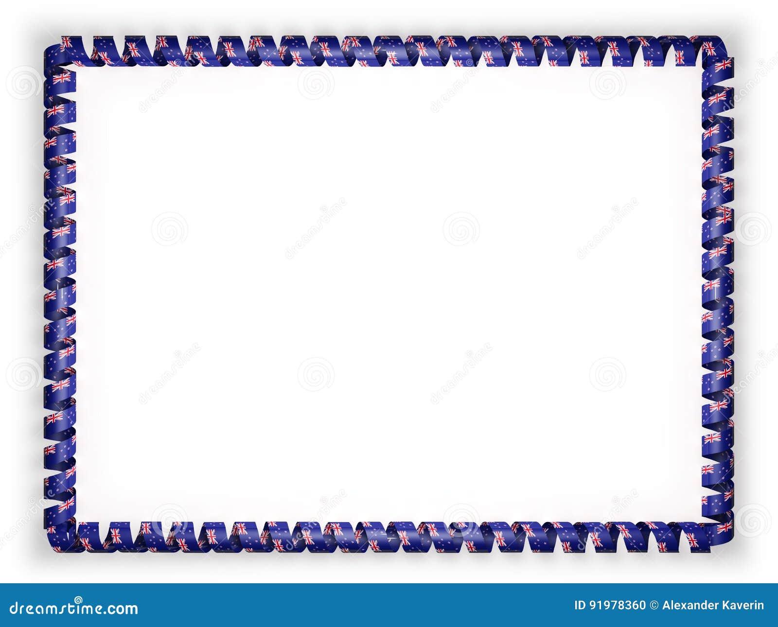 Feld Und Grenze Des Bandes Mit Der Neuseeland-Flagge Abbildung 3D ...