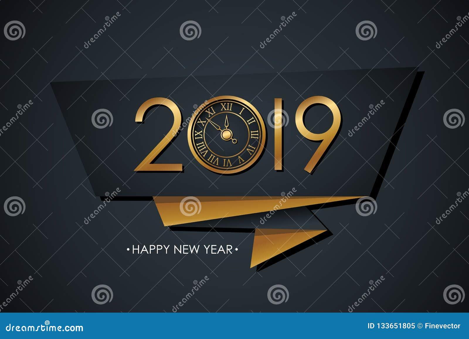 2019 Felices Año Nuevo celebran la bandera con oro colorearon diseño de 2019 textos, el reloj del Año Nuevo y el fondo negro