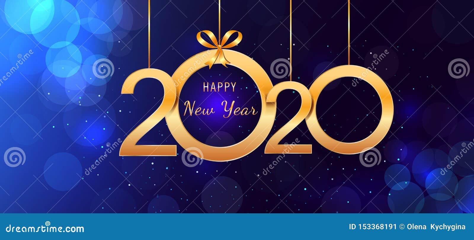 2020 Felices Año Nuevo que cuelgan números brillantes de oro con los arcos de la cinta en fondo azul abstracto con las luces y el