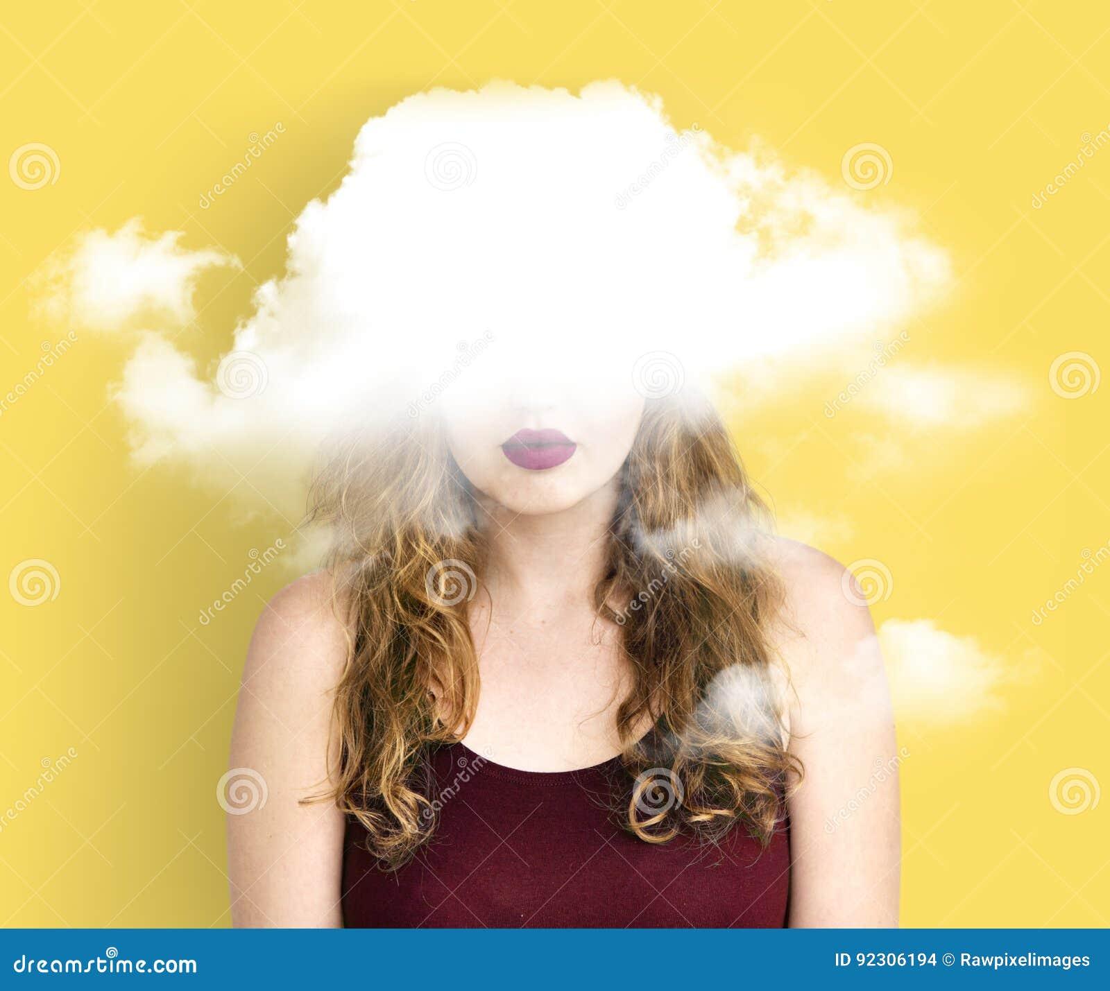 Felicidade escondida nuvem da depressão do dilema