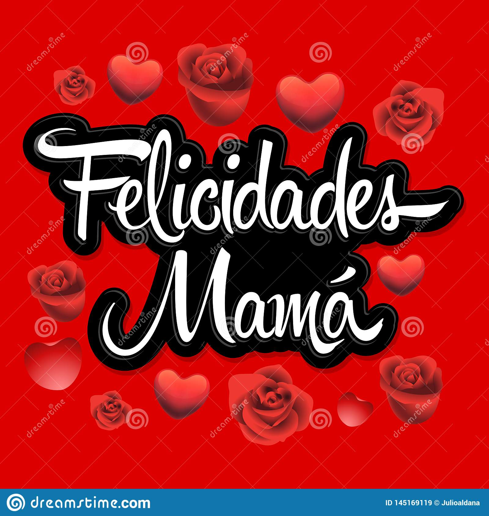 Felicidades Mama, Congrats teksta wektoru Macierzysta Hiszpańska ilustracja