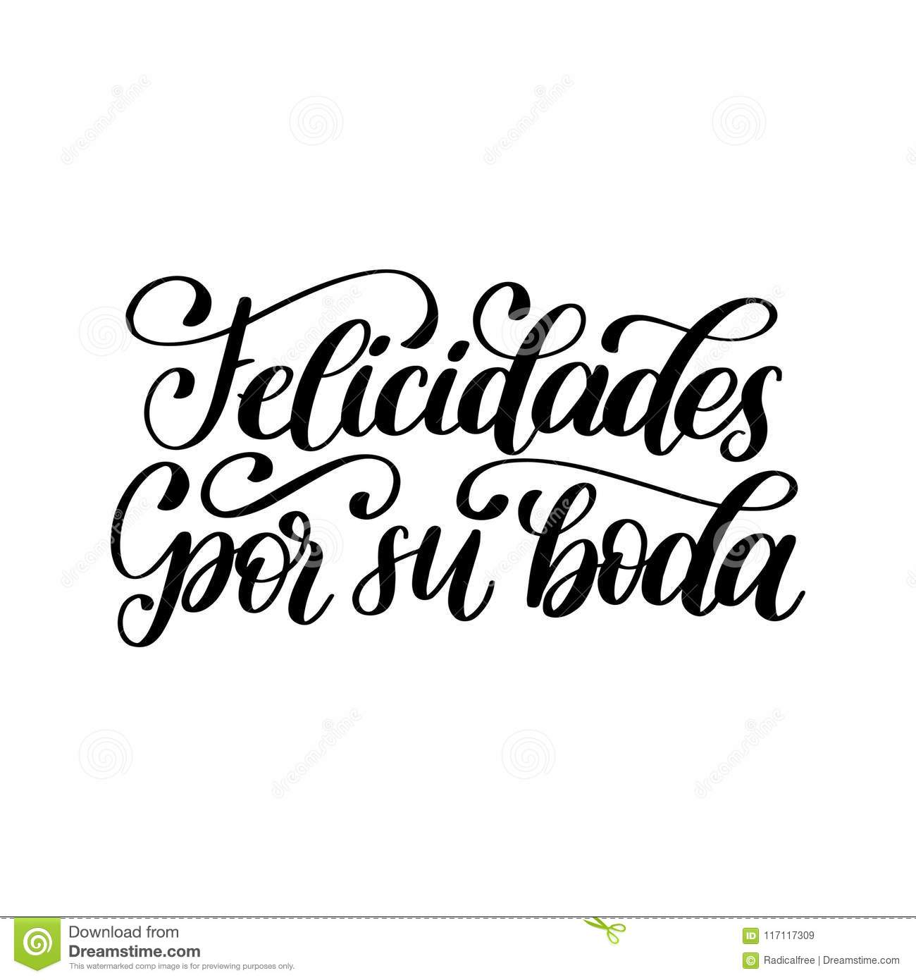 felicidades por su boda translated from spanish handwritten phrase congratulations for your wedding on white background