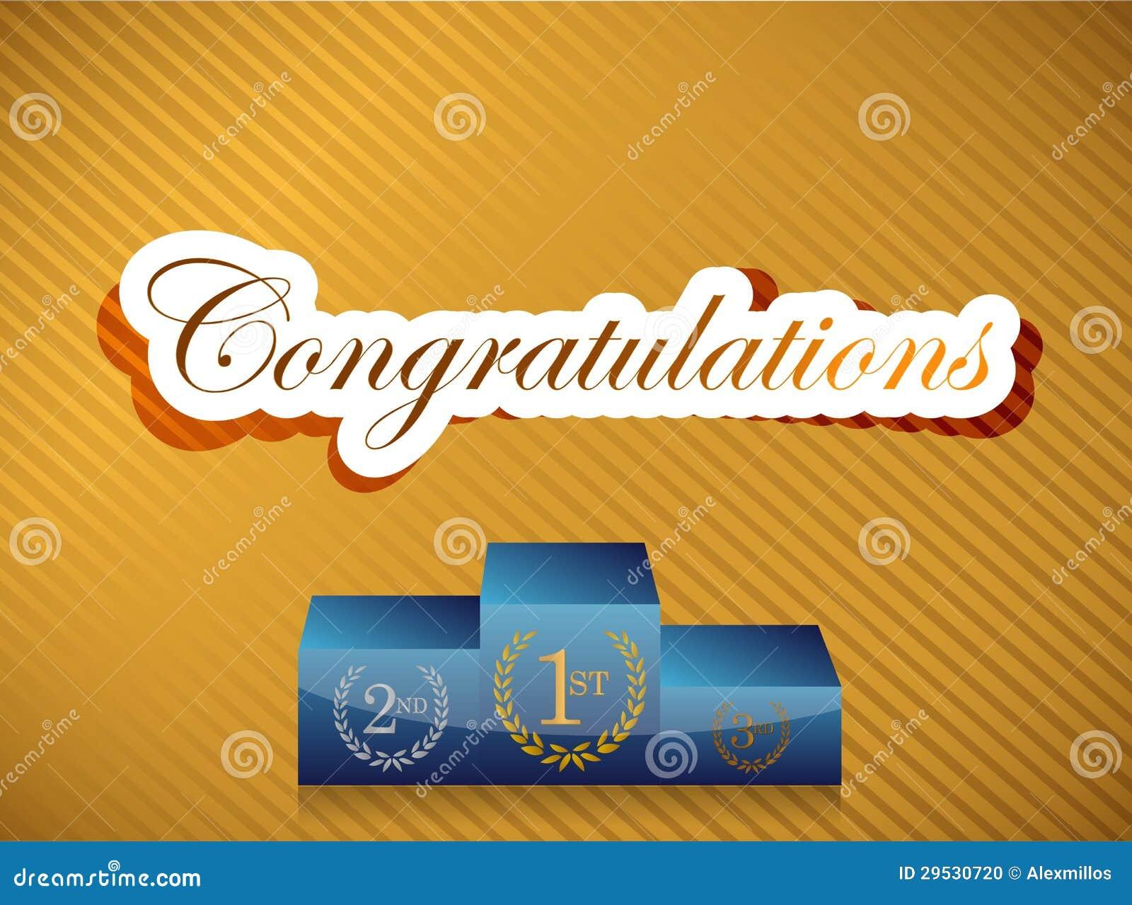 Felicitações que rotulam e ilustração do pódio