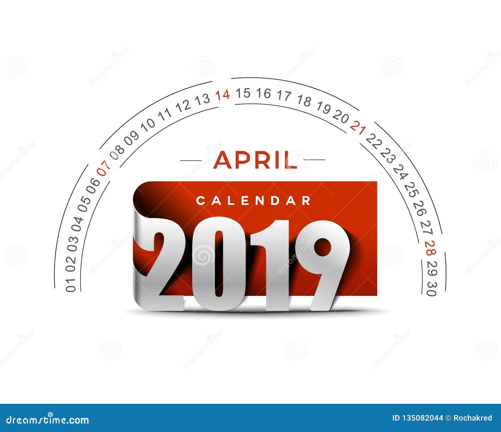 Feliz Año Nuevo 2019 April Calendar - elementos del diseño del día de fiesta del Año Nuevo para las tarjetas del día de fiesta, c