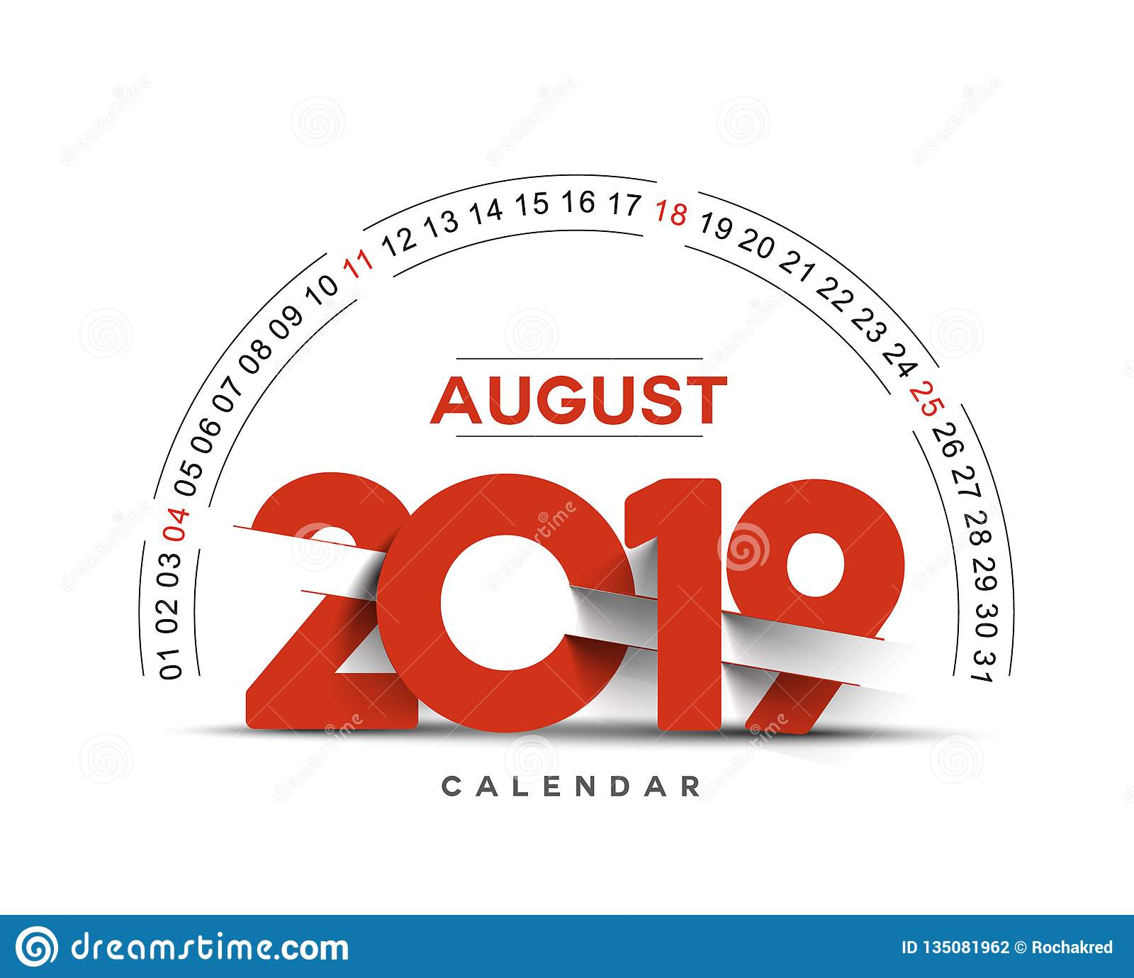 Feliz Año Nuevo 2019 August Calendar - elementos del diseño del día de fiesta del Año Nuevo para las tarjetas del día de fiesta,