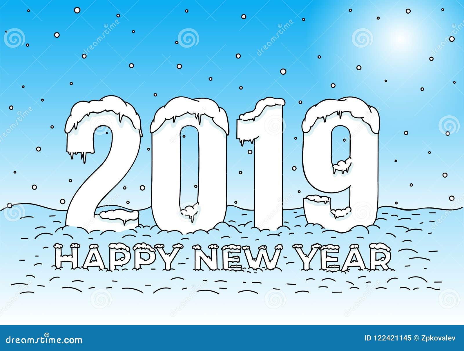 Feliz Año Nuevo Casquillos De La Nieve En Números Y Letras Modelo