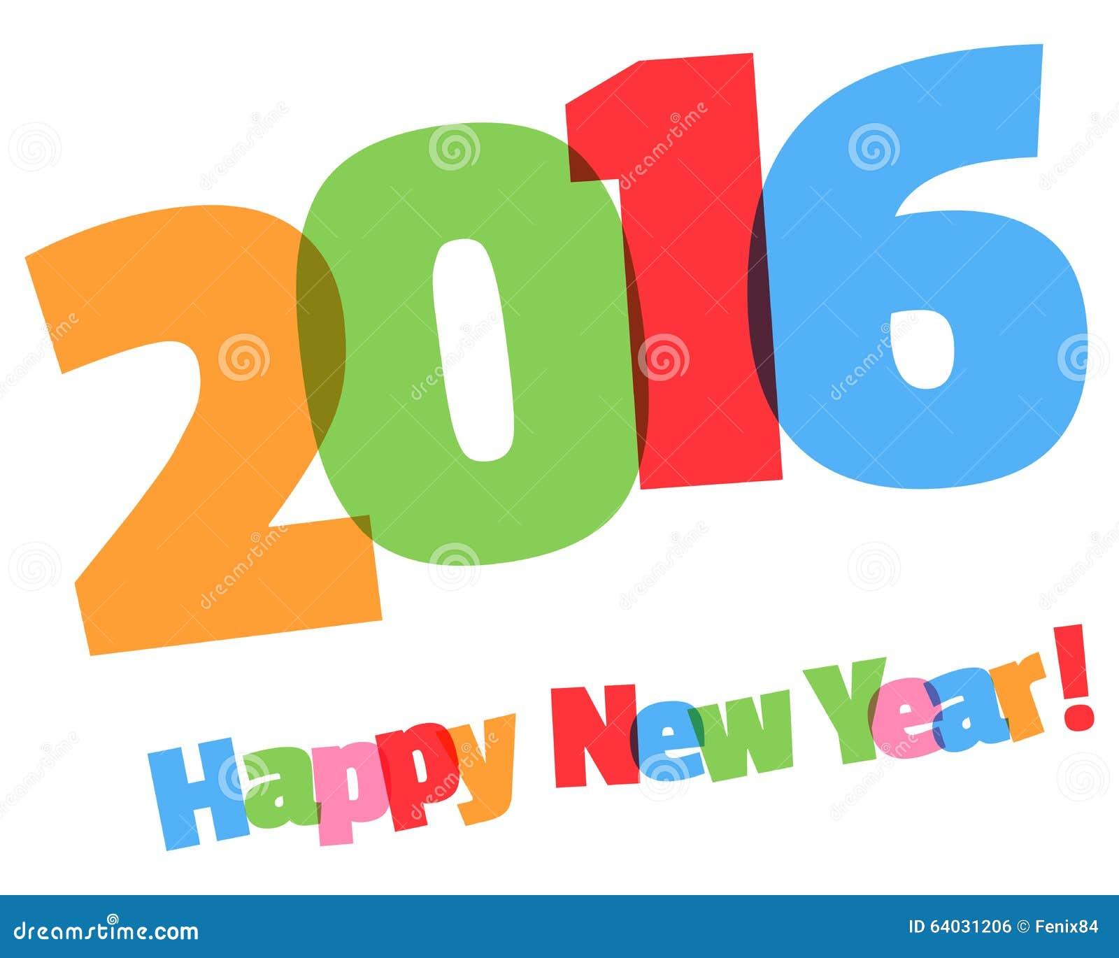 Feliz Año Nuevo 2016 Coloreado Saludo De La Inscripción Ilustración