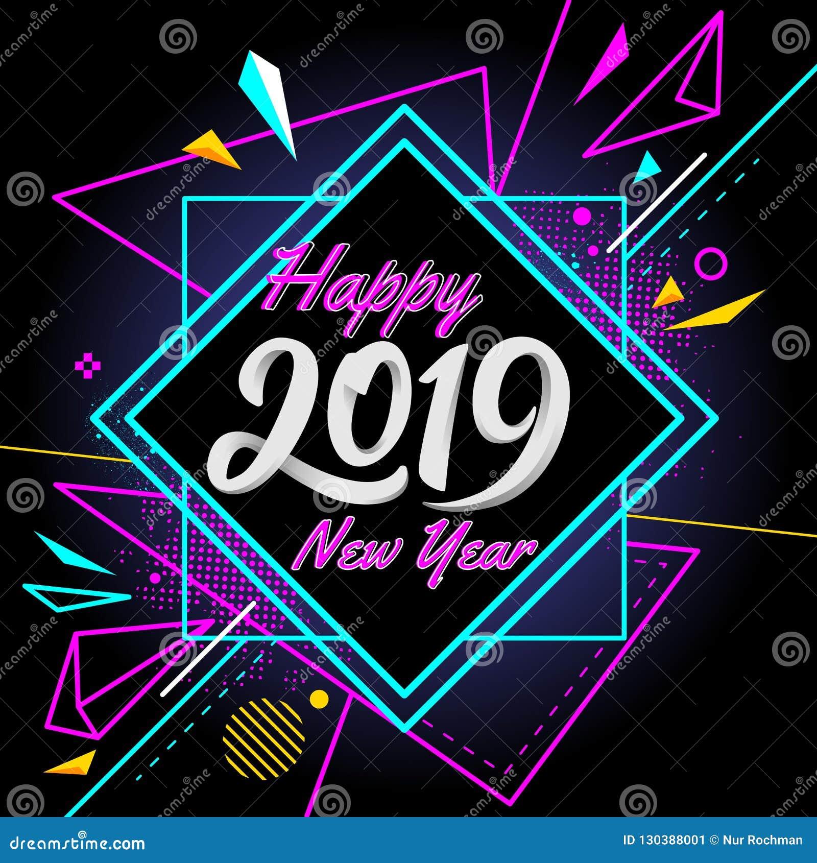 Feliz Año Nuevo 2019 con el fondo colorido de la bandera moderna