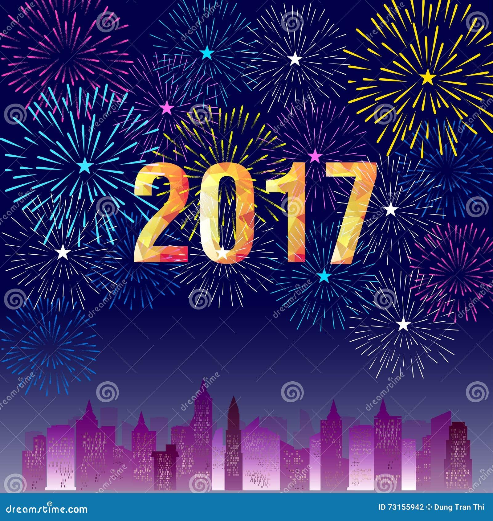 Feliz Año Nuevo 2017 Con El Fondo De Los Fuegos Artificiales Ilustración del  Vector - Ilustración de fondo, nuevo: 73155942