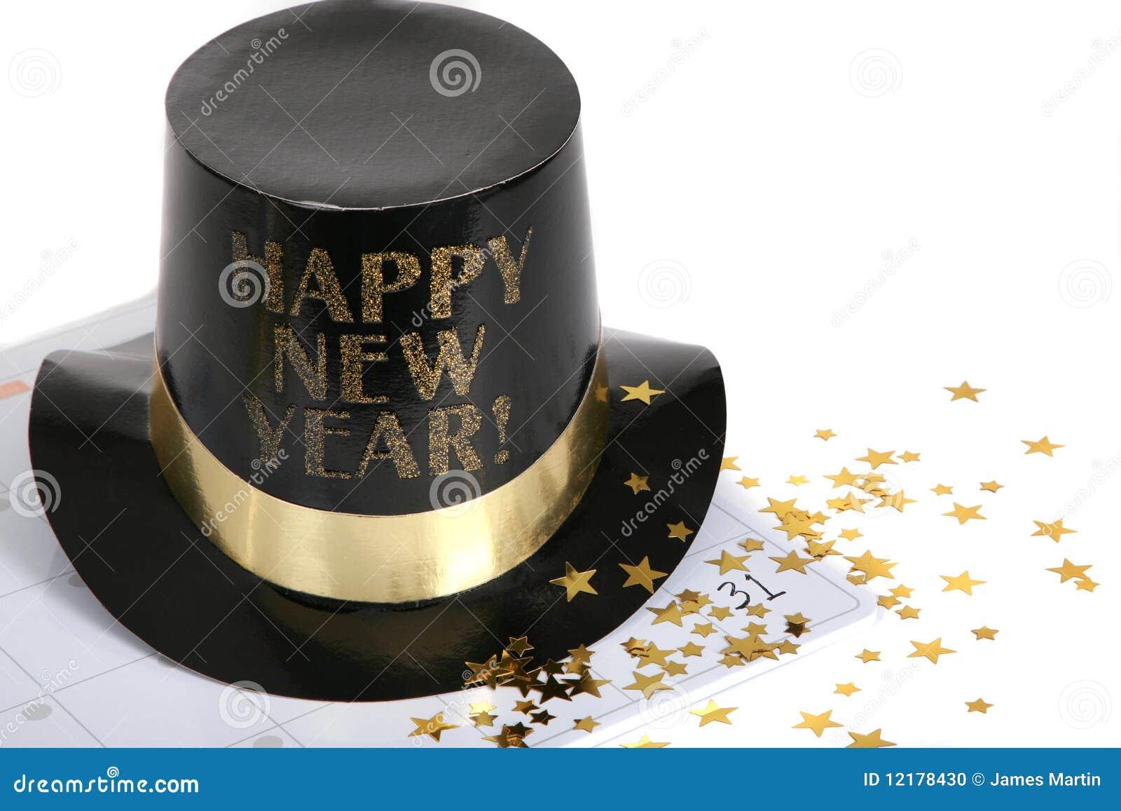 Feliz Año Nuevo con las estrellas del calendario y del oro