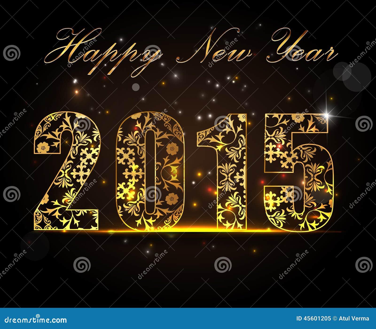 Feliz Año Nuevo 2015, concepto de la celebración con el texto de oro