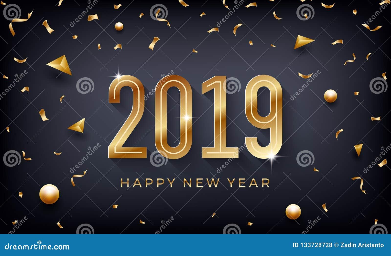 Feliz Año Nuevo 2019 Ejemplo abstracto creativo del vector con números de oro chispeantes en fondo oscuro