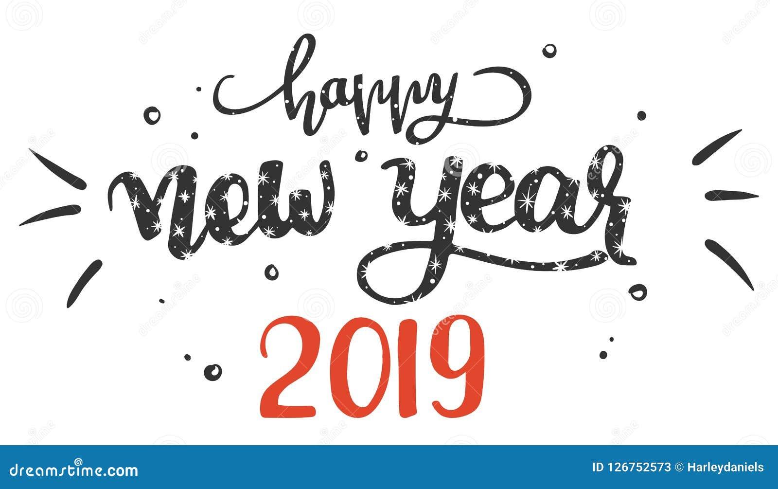 Feliz Año Nuevo 2019 Ejemplo De La Frase Manuscrita De Las