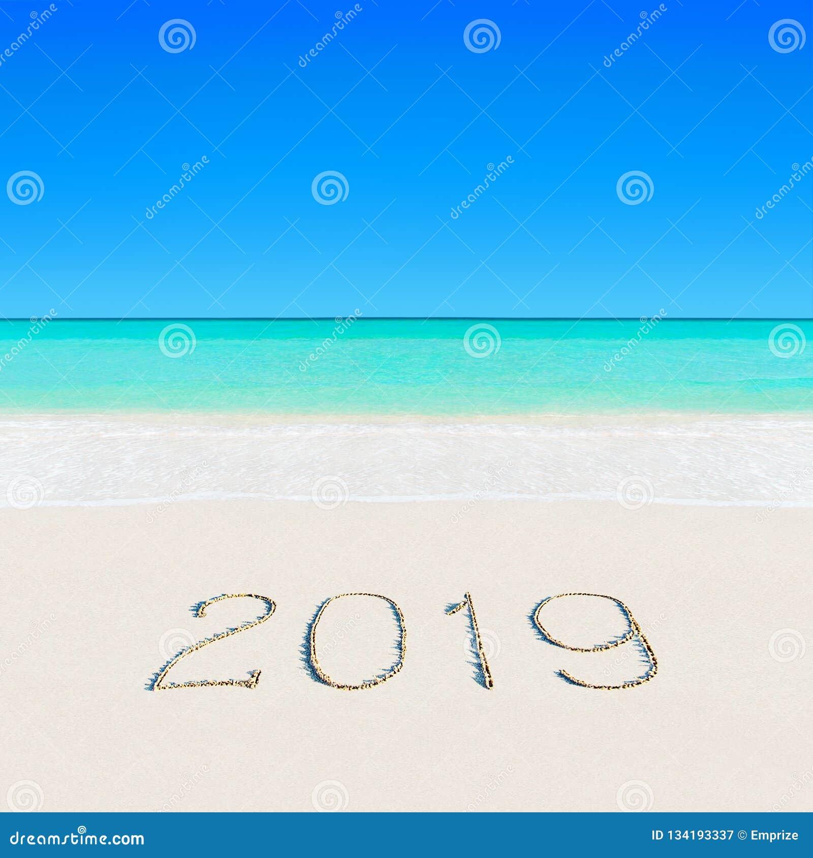 Feliz Año Nuevo 2019 en la playa tropical del verano del océano arenoso