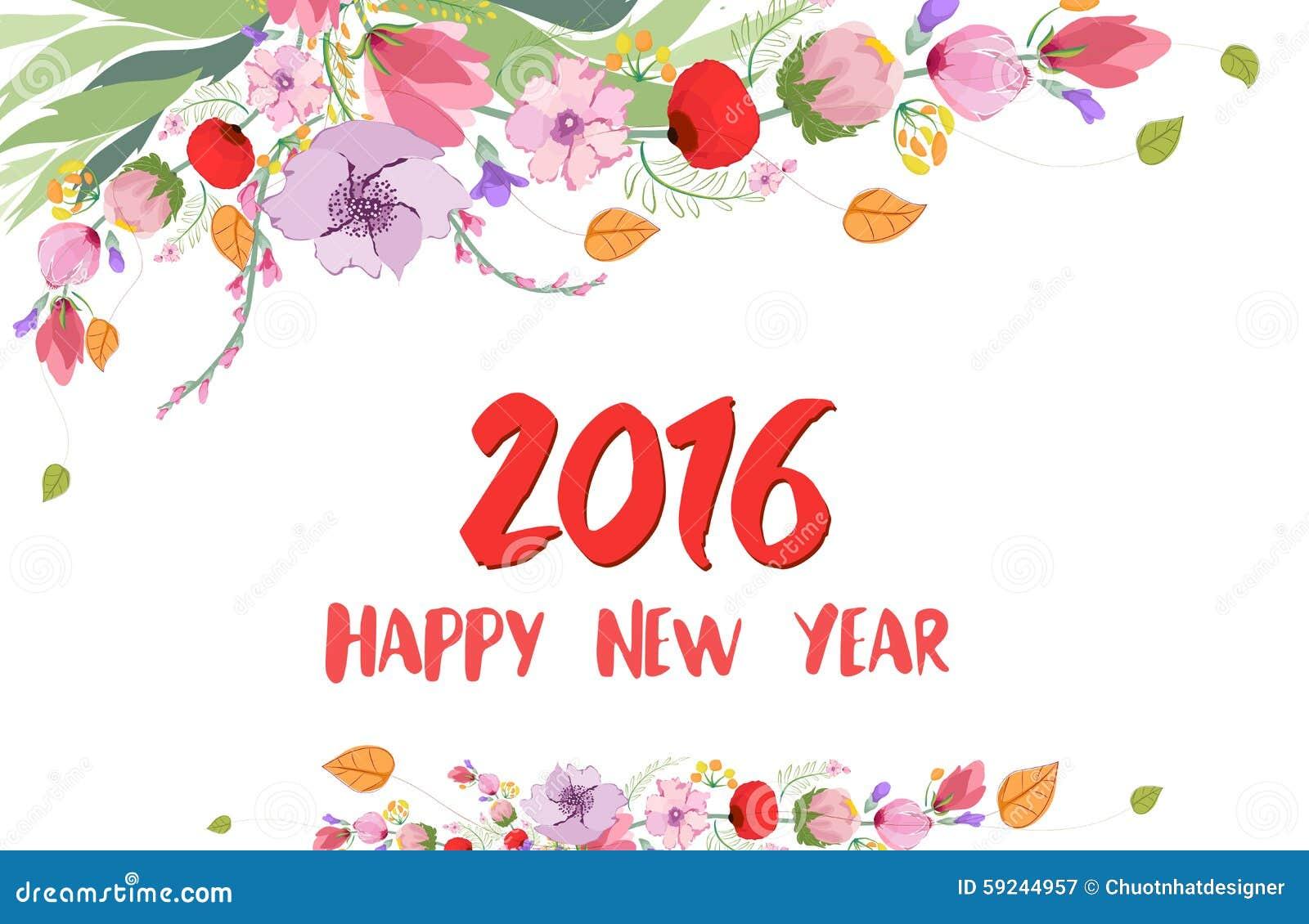 Download Feliz Año Nuevo 2016 Flor Salvaje De La Acuarela Stock de ilustración - Ilustración de gráfico, floral: 59244957