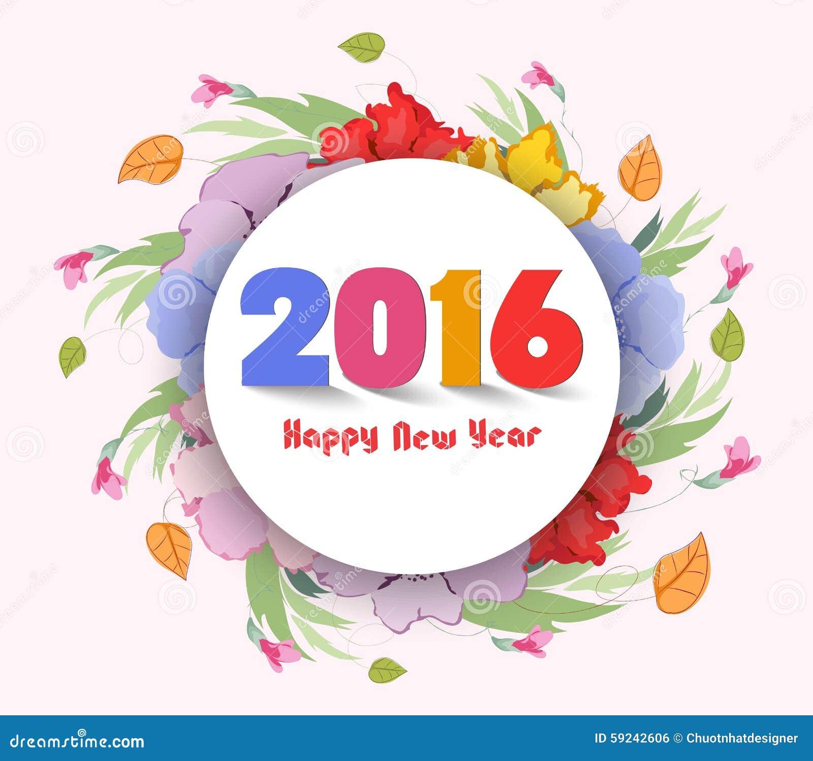 Download Feliz Año Nuevo 2016 Fondo De La Flor De La Acuarela Stock de ilustración - Ilustración de moderno, pintura: 59242606