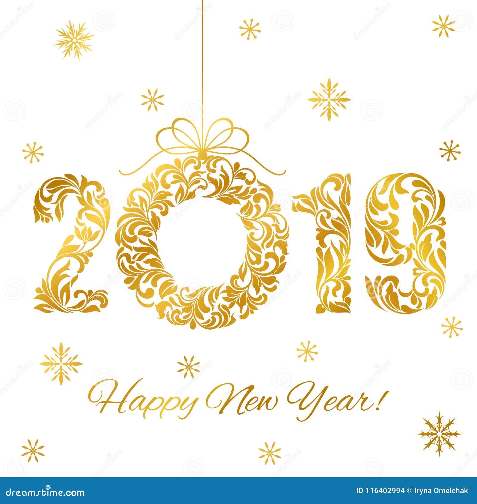 Feliz Año Nuevo 2019 Fuente decorativa hecha de remolinos y de elementos florales Guirnalda de oro de los números y de la Navidad