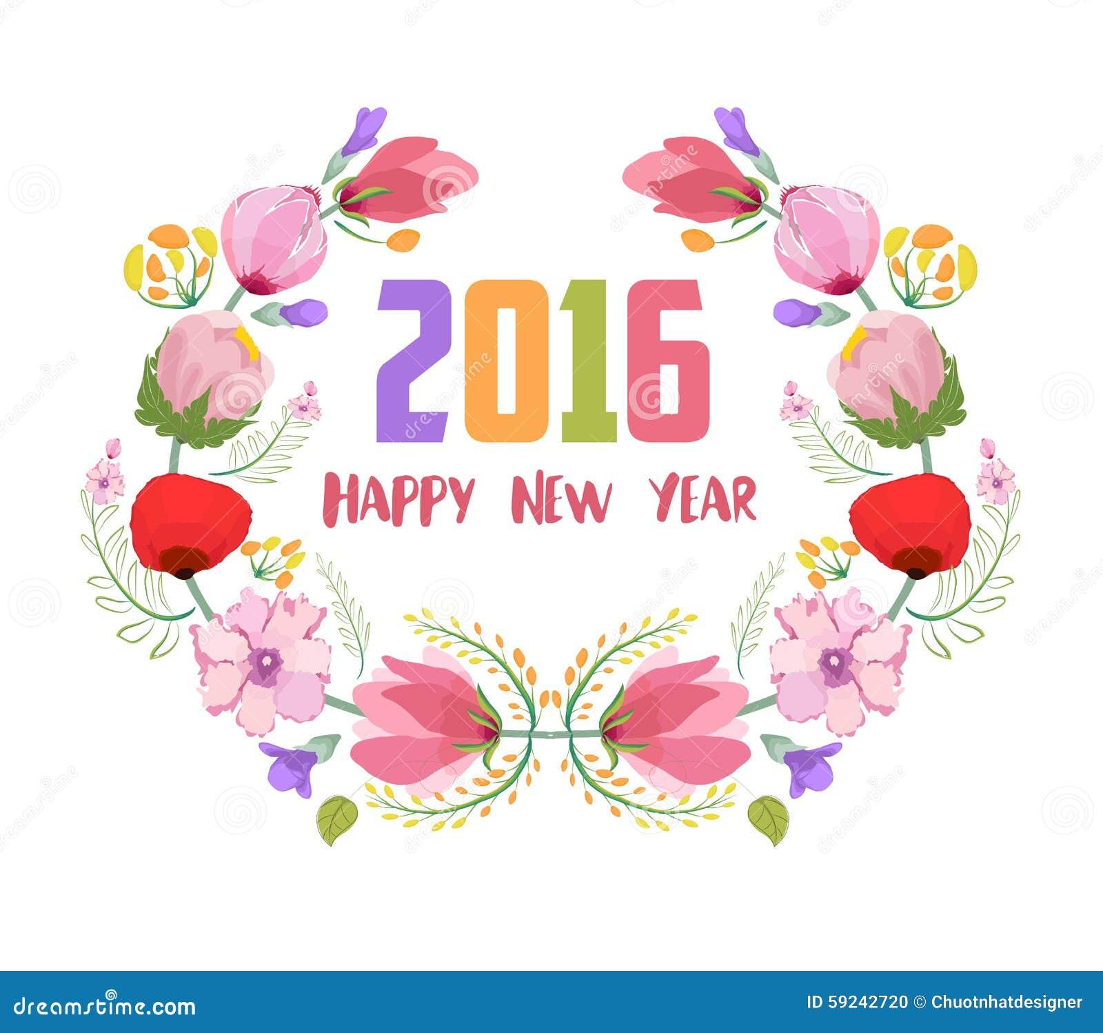 Feliz Año Nuevo 2016 La acuarela florece el marco