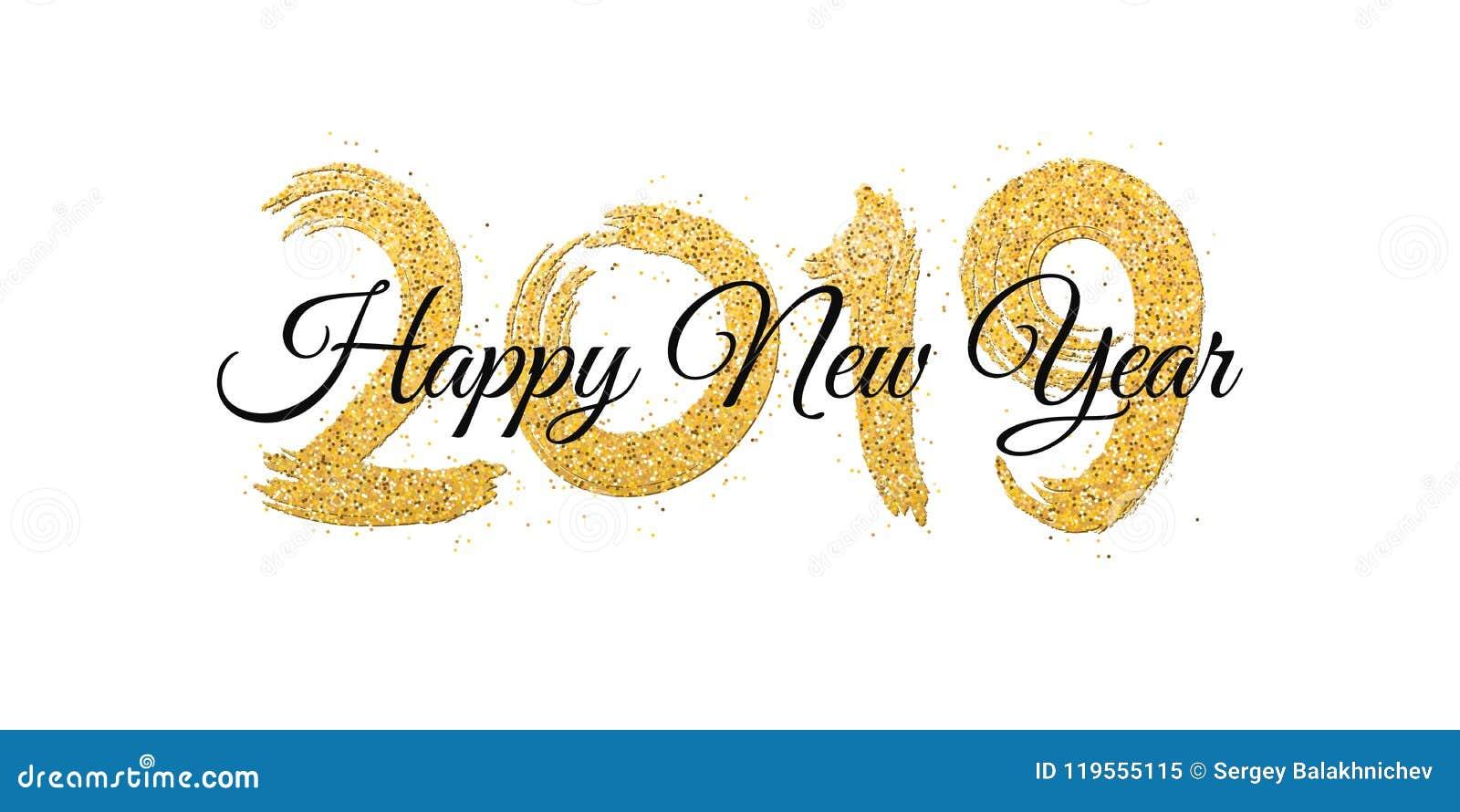 Feliz Año Nuevo 2019 Números De Brillos De Oro Con El