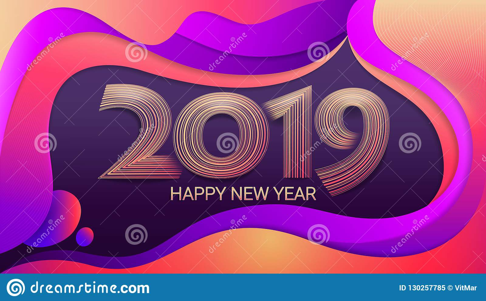 Feliz Año Nuevo 2019 Navidad Fondo olorful del ¡de Ð ejemplo abstracto del vector celebración