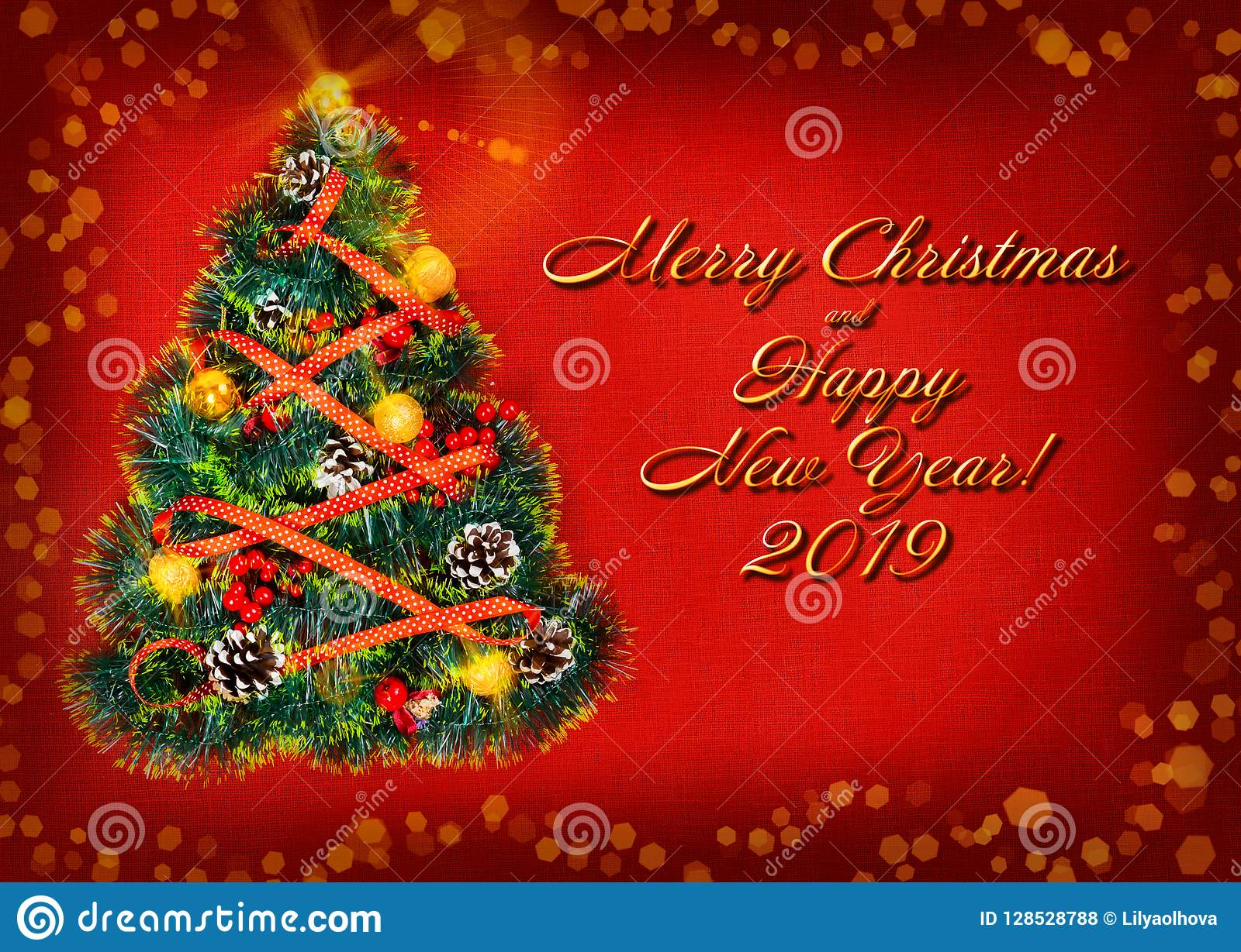 Felicitaciones Para Navidad 2019.Feliz Ano Nuevo Y La Navidad De La Tarjeta De Felicitaciones
